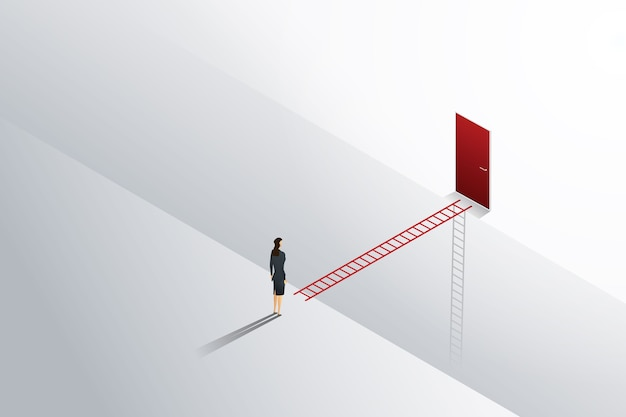 Business challenge businesswoman standing  looks at ladder cross to red door.
