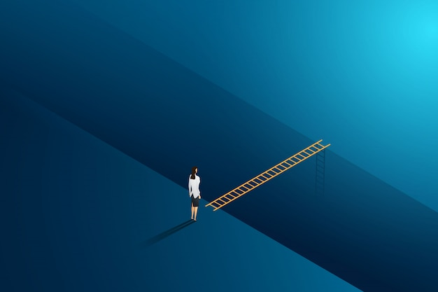 Business challenge businesswoman standing thinking looks at ladder cross to goal success. illustration