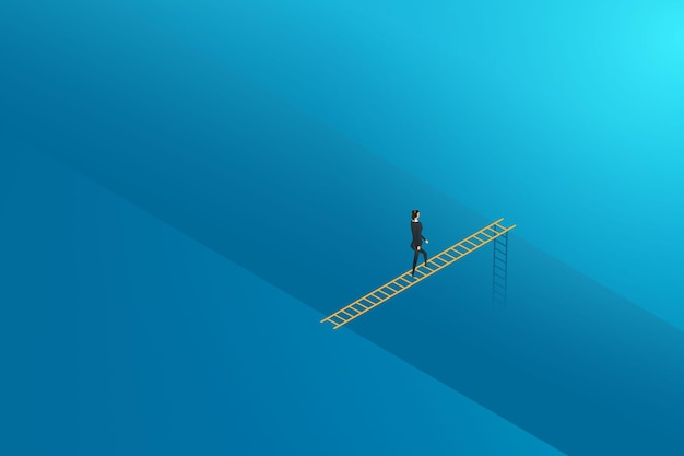 Business challenge businesswoman walking at ladder cross to goal success. illustration vector
