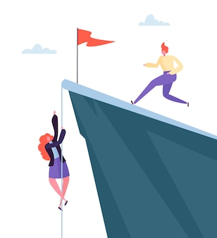 Business challenge concept. businesswoman climbing on peak of mountain. businessman character running to the top. goal achievement, leadership, motivation concept.