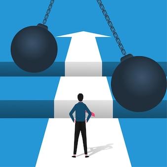 ギャップのシンボルの前に立っているビジネスマンとビジネスチャレンジコンセプト