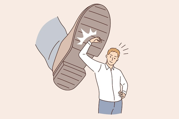 Business challenge and confidence concept. young smiling businessman cartoon character standing deflecting blow from boots sole vector illustration