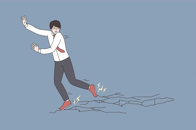 비즈니스 도전, 위기 및 공황 개념입니다. 벡터 삽화를 통해 자신의 목표와 목표를 느끼며 얼음 위를 걷는 두려운 사업가