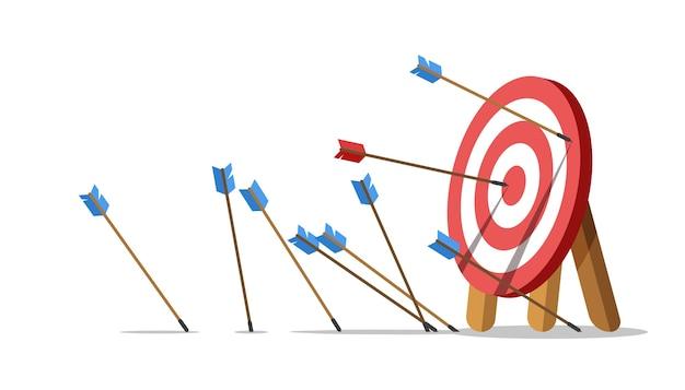 ビジネスチャレンジの失敗。矢が目標マークに当たらず、1つだけが中央に当たる。ショットミス。