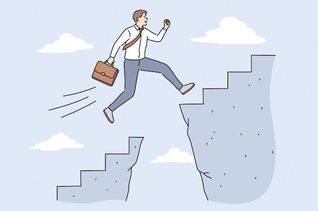 Business challenge and success concept. young confident businessman cartoon character jumping over abyss for development and success in job vector illustration
