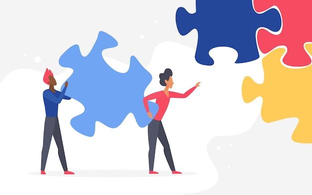 Бизнес-вызов совместной работы двух человек-персонажей, держащих вместе большой кусок головоломки.