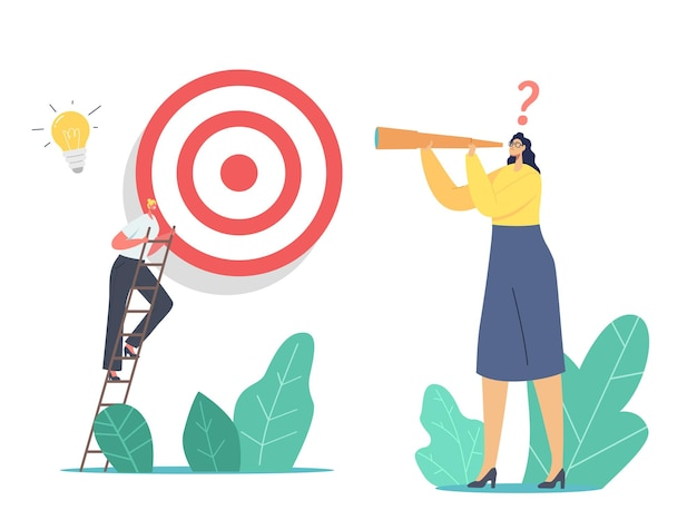 Business character climb ladder overcome obstacles making next step to reach target. businesswoman looking in spyglass. goals achievement, aim, challenge strategy. cartoon people vector illustration