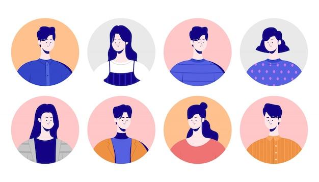 角度の横にあるビジネスキャラクターのコンセプト。クールなキャラクターの男性と女性、韓国風、漫画スタイルのカラー写真。
