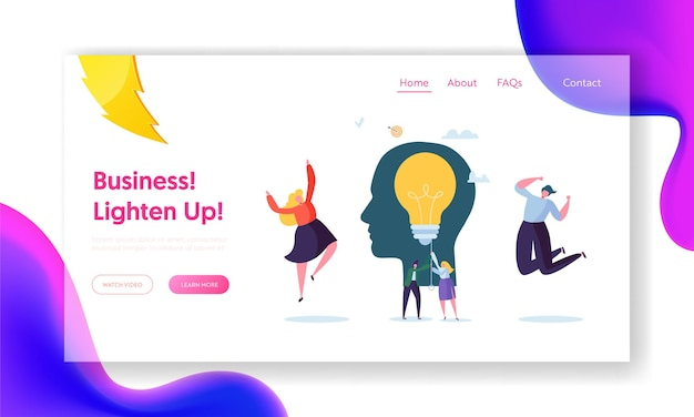 Business character creative idea landing page.