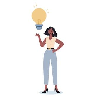 電球を持っているビジネスキャラクター。アイデアのコンセプト。創造的な心とブレインストーミング。イノベーションについて考え、解決策を見つけます。比喩としての電球。