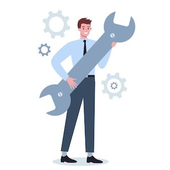 レンチとギアを保持しているビジネスキャラクター。オフィスワーカーが生産的に働き、成功に向かって動くという考え。パートナーシップとコラボレーション。