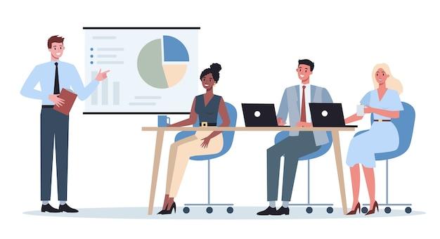 同僚のグループの前でプレゼンテーションを行うビジネスキャラクター。セミナーで事業計画を発表。グラフを指しています。