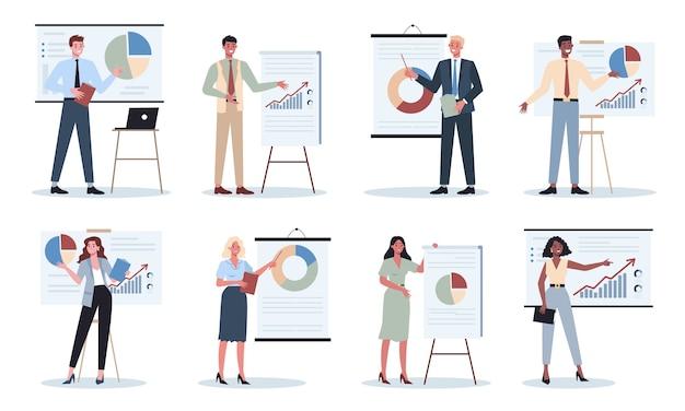 同僚セットのグループの前でプレゼンテーションを行うビジネスキャラクター。セミナーで事業計画を発表。グラフを指しています。