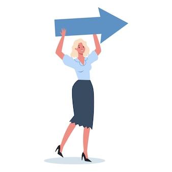 大きな矢印で何かを指しているビジネスキャラクター。笑顔で何かを見せている女性ビジネスワーカー。成功した従業員、達成の概念。