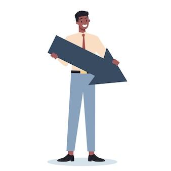 大きな矢印で何かを指しているビジネスキャラクター。男性のビジネスワーカーが笑顔で何かを見せています。成功した従業員、達成の概念。