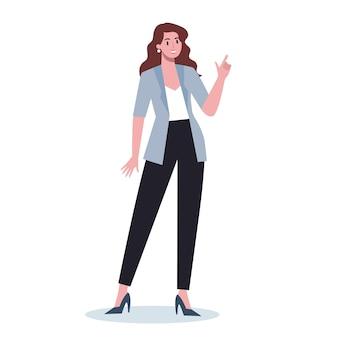 何かを指しているビジネスキャラクター。笑顔とジェスチャーで何かを示す女性ビジネスワーカー。成功した従業員、達成の概念。