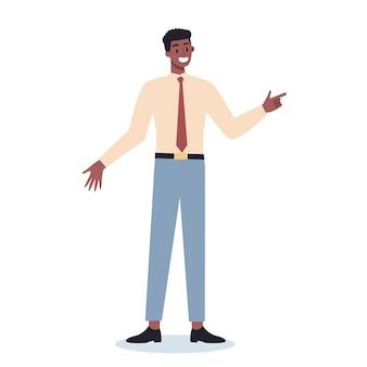 何かを指しているビジネスキャラクター。男性のビジネスワーカーが笑顔でジェスチャーで何かを示しています。成功した従業員、達成の概念。