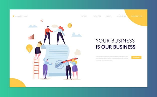 Business character signing contract landing page