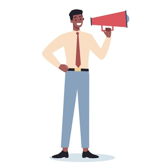 Business character standing with megaphone. making special promotion with loudspeaker. speaker make announcement. getting customer attention.