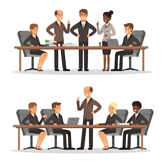 Business character at the table in conference hall. man and woman in rich costume. vector illustrati