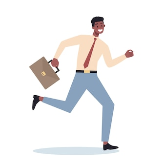 Business character with briefcase running. business man rushing in a hurry. happy and successful employee in a suit.
