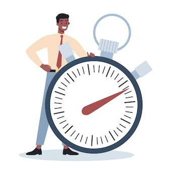 Business character with a clock. work effectivity and planning. productive time management concept. task planning, making a week schedule.