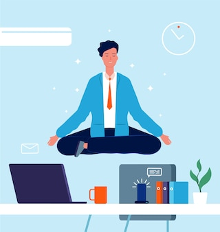 Business character yoga. manager sitting on office table in lotus pose stress at work business concept vector pictures. office character lotus, employee worker illustration