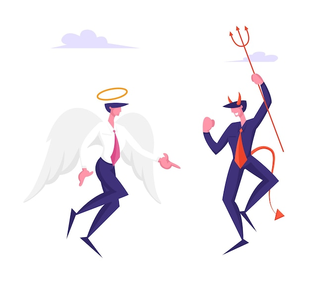 ピッチフォークを保持している角を持つ天国の陽気な悪魔で議論するビジネスキャラクターの天使と悪魔
