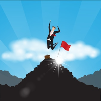 Business characters. businessman with red flag on mountain top.