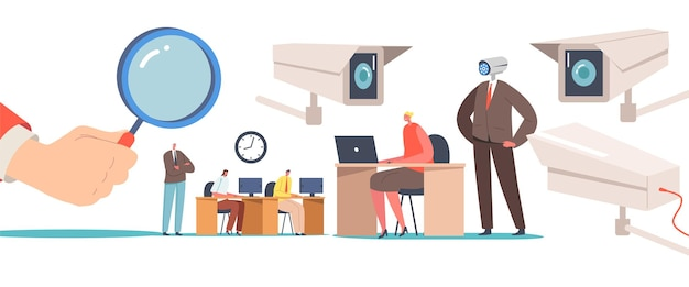 Business characters under chef observation at work, privacy concept. hand hold huge magnifying glass watching on working businesspeople, boss with video camera head. cartoon people vector illustration