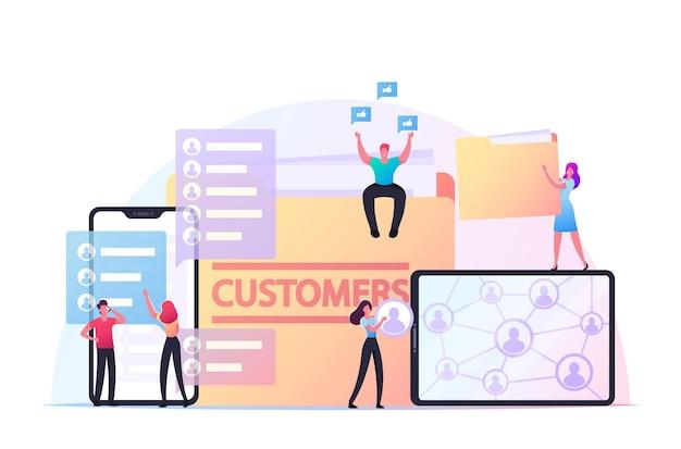 비즈니스 캐릭터는 고객 기반을 확장하여 신규 고객을 유치합니다. 거대한 가제트 및 폴더에서 작은 기업인과 경제인. 추천 프로그램, 관리. 만화 사람들 벡터 일러스트 레이 션