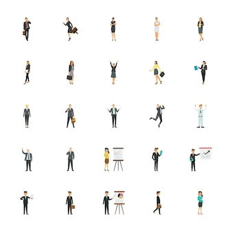Business characters flat icons for business websites