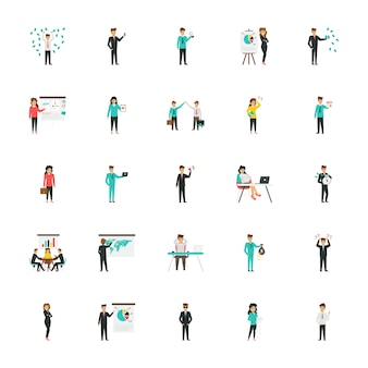 Business characters flat icons collection