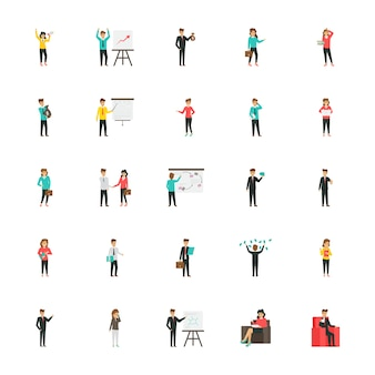 Business characters flat icons pack