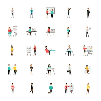 Business characters flat icons set