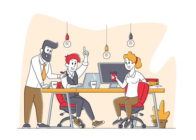비즈니스 캐릭터 그룹이 함께 창의적인 아이디어를 개발