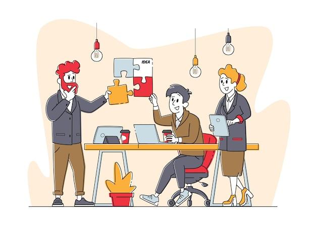 ビジネスキャラクターグループが協力してカラフルな別々のパズルのピースをセットアップする