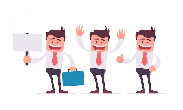 Business characters hands gestures collection