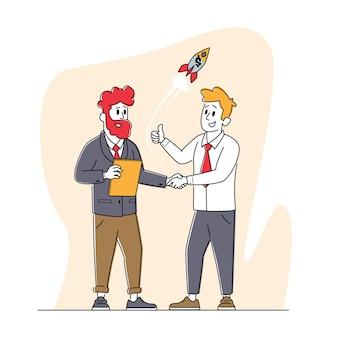 Деловые персонажи встречаются, пожимая руки. молодые люди встают лицом к лицу и рукопожатие для запуска проекта