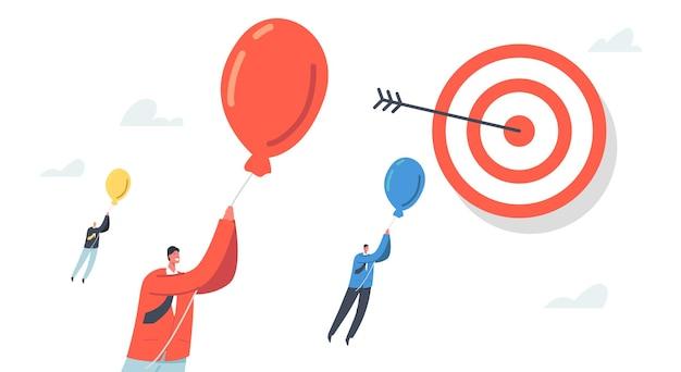 먼 목표에 비행 풍선에 비즈니스 문자입니다. 목표 달성, 장애물 극복 개념