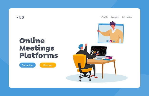 Business characters online meeting landing page template. office worker sit at desk chatting with coworker via webcam on computer screen