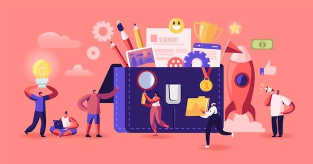 비즈니스 캐릭터는 포트폴리오에 다른 편지지와 문서를 넣습니다. 사무 및 파트너십 협력 개념입니다. 거대한 서류 가방 주변의 기업인. 만화 사람들 벡터 일러스트 레이 션