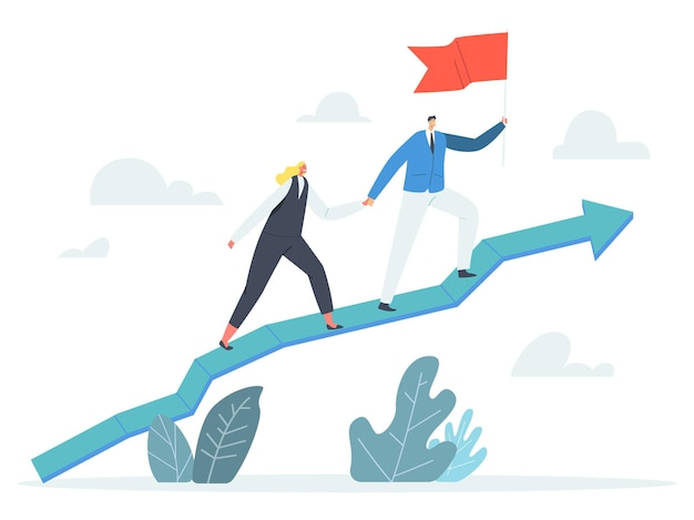 Business characters team holding hands and red flag climbing growing arrow graph, corporate leadership, financial success, career growth, cooperation partnership. cartoon people vector illustration