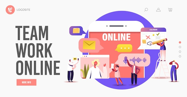 Business characters teamwork online landing page template. tiny employees speak on video call with remote colleagues. workers webcam group conference with coworkers. cartoon people vector illustration