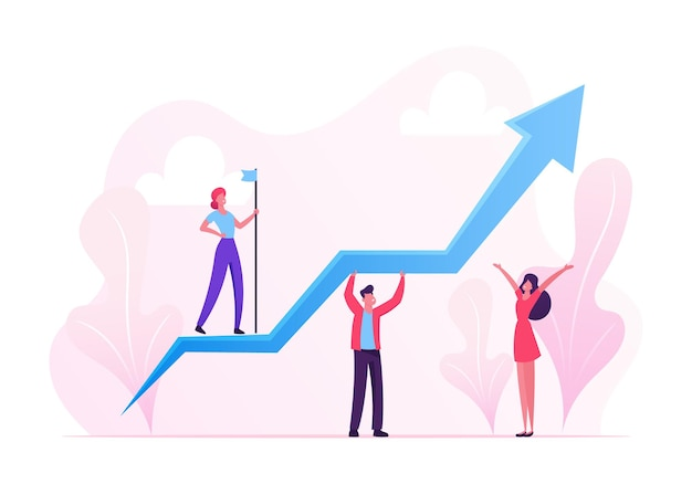 Business characters teamwork. team of businesspeople holding growing arrow, leader with flag standing on top. cartoon flat illustration