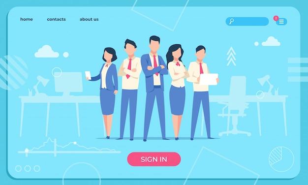 ビジネスキャラクターのウェブページ。フラットオフィスの人々は面白い男性と女性を漫画します。ビジネスキャラクターチームのウェブサイト