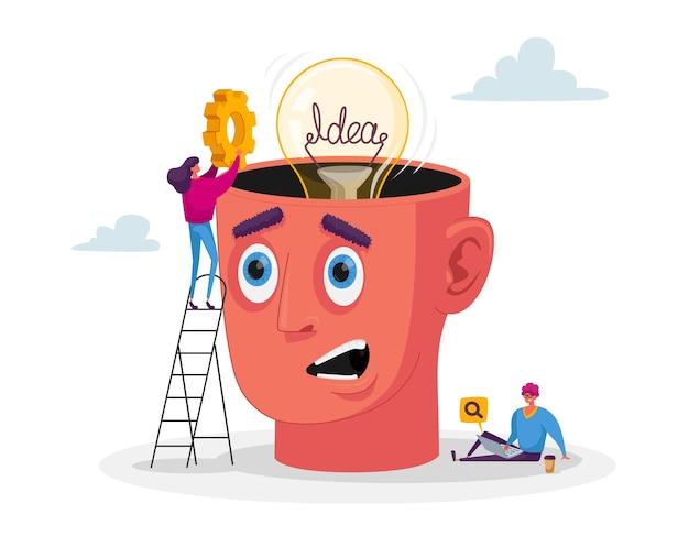 Деловые персонажи работают над проектом в поисках творческой идеи. женщина кладет снаряжение в огромную голову с лампочкой, мужчина просматривает на ноутбуке