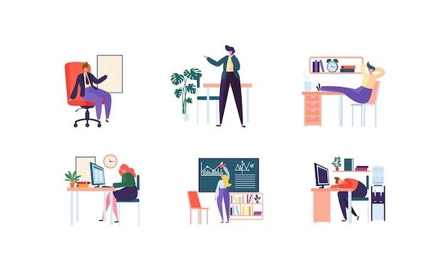 Деловые персонажи, работающие в офисе. корпоративный отдел с деловыми людьми. управление, организация, концепция рабочего места.