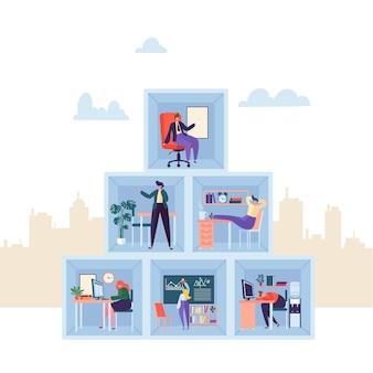 Деловые персонажи, работающие в офисе. трехэтажный корпоративный отдел компании с деловыми людьми. концепция организации.