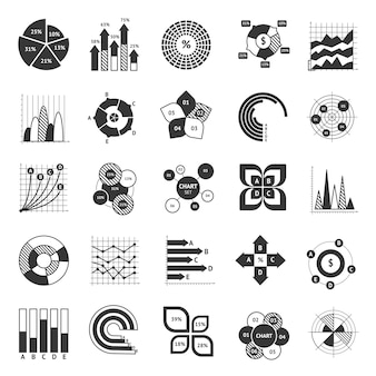 Business chart black and white set